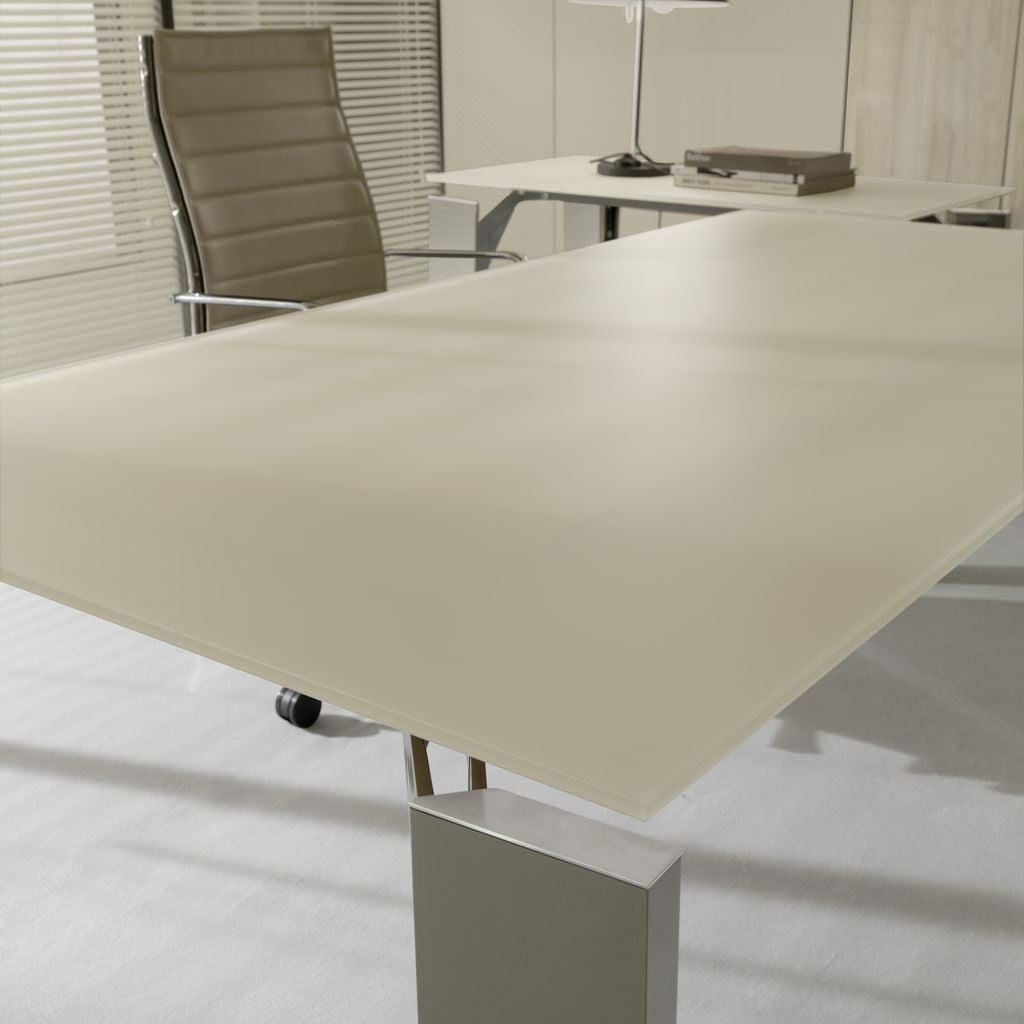 Brunoffice scrivania x19 tortora alluminio casa ufficio design - Scrivania ufficio vetro ...