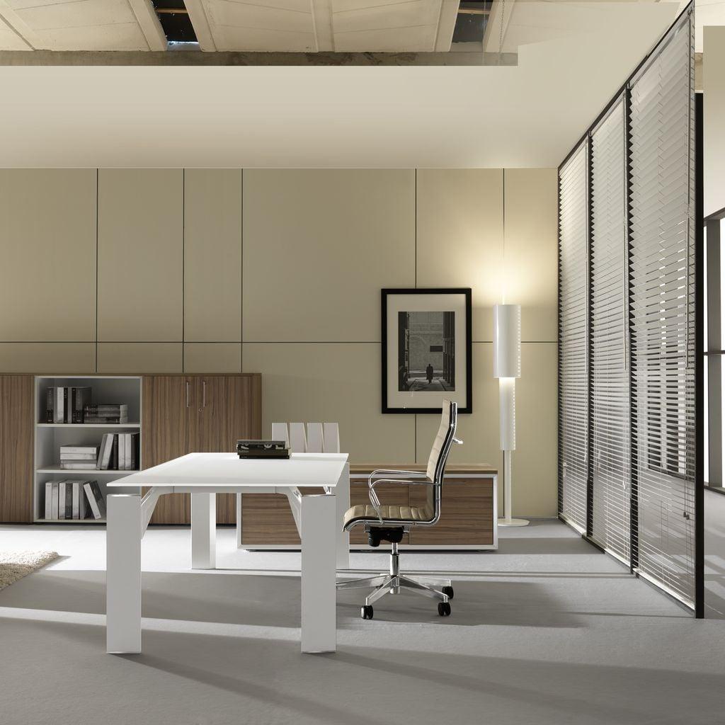 Brunoffice scrivania x19 bianco bianco casa ufficio design for Scrivania cristallo design