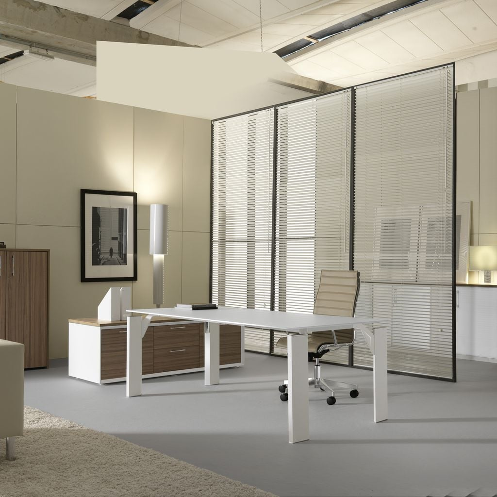 Brunoffice scrivania x19 bianco bianco casa ufficio design for Scrivania cristallo design