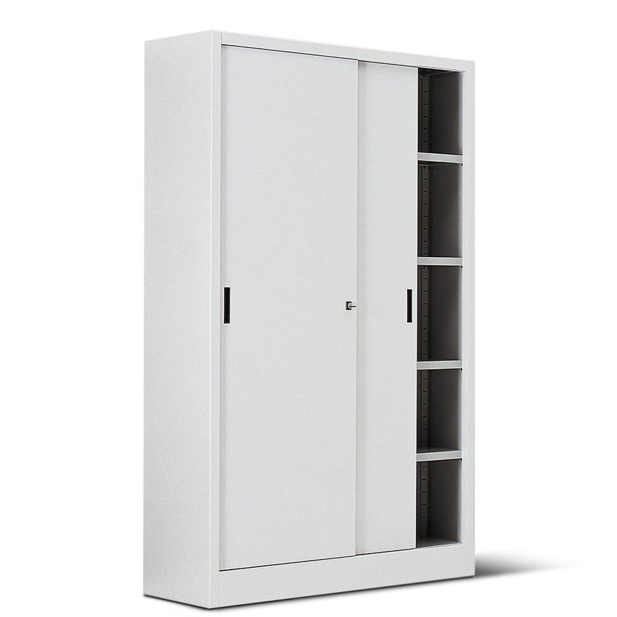 Armadio metallico bianco 120 x 45 x 200 h casa ufficio for Armadio metallico ante scorrevoli 120x45x200